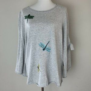 Democracy Gray Dragon Fly Graphic Blouse